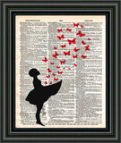 Girl with butterflies, Butterfly art, banksy style art, red butterfly art print