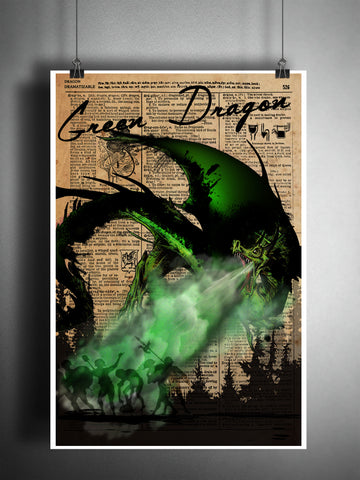 Green Dragon art print with Dragon dictionary page definition, fantasy monster artwork