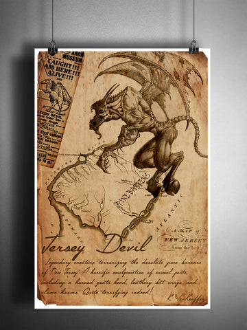 Jersey Devil cryptid art, urban legend bestiary cryptozoology science journal art, monsters and folklore,