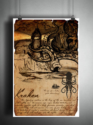The Kraken art, sea monster, creepy horror artwork, myths and monsters bestiary, cryptid artwork
