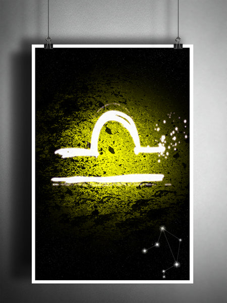 Libra zodiac sign art, horoscope symbol artwork, Yellow air element