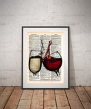 Wine splash art, red and white wine, wedding toast art, wine lovers art -  - 1