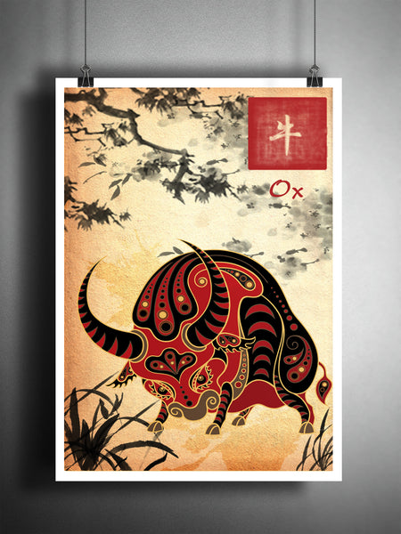 Chinese Zodiac Ox, asian wall art, astrology art print, childrens animal art, japanese ink painting, asian wall decor, bull art