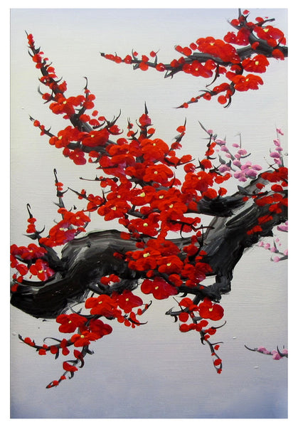 Cherry blossom wall art japan cherry blossom art red for Cherry blossom mural works