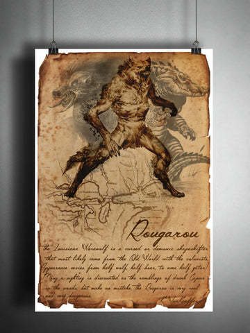 Rougarou Louisiana werewolf cryptid art, urban legend bestiary cryptozoology science journal art, monsters and folklore,
