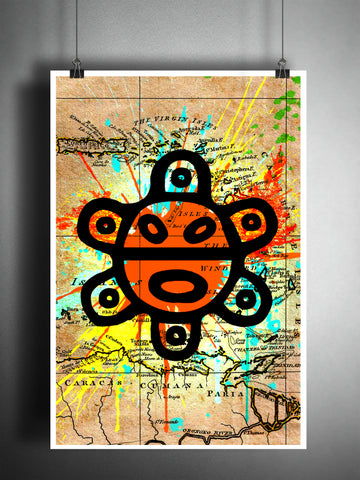 Taino Sun splatter art, colorful beach decor, old map artwork.