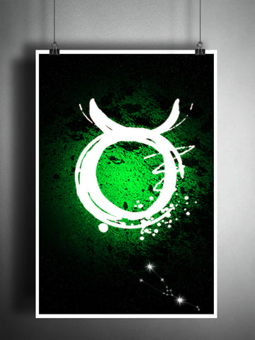 Taurus zodiac sign art, bull horoscope symbol artwork, green earth element