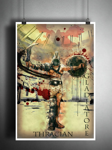 Thracian gladiator art, roman coliseum artwork, ancient warrior, splatter art