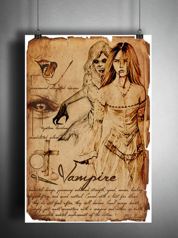 Vampire girl art, creepy horror artwork, myths and monsters bestiary, vampire artwork