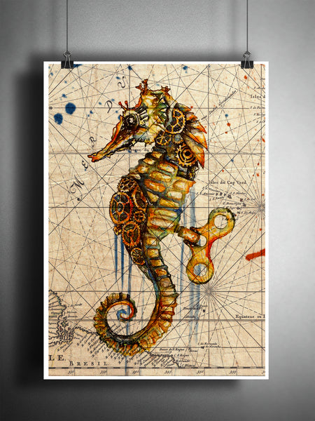 Seahorse splatter art print, steampunk sea horse, beach decor, world map art