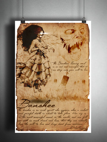 Banshee, creepy irish folklore, legends, creepy horror artwork, myths and monsters bestiary,
