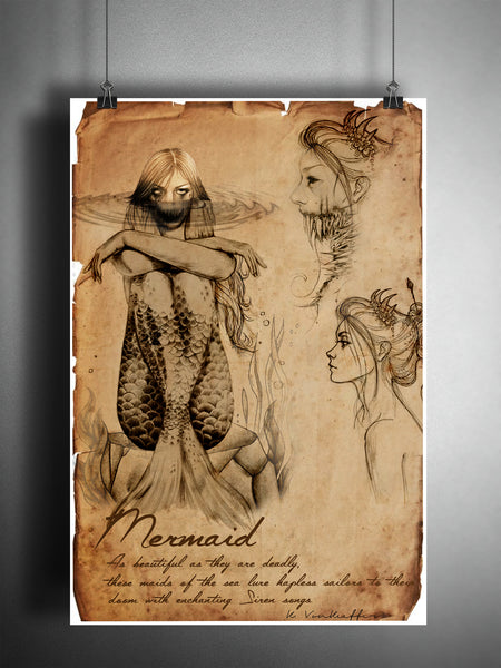 Mermaid cryptid art, bestiary cryptozoology science journal art, monsters and folklore