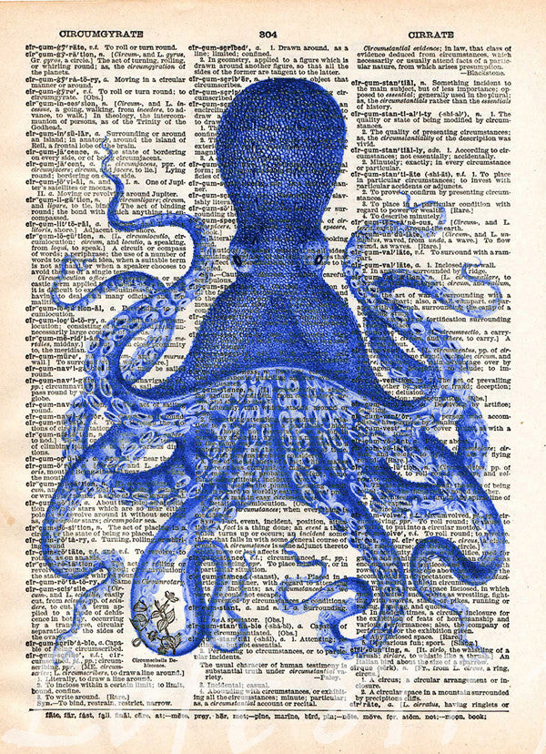 Beautiful ... Octopus Wall Art, Vintage Octopus Drawing, Dictionary Print, Book Page  Art   ...