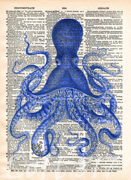 Attractive Octopus Wall Art, Vintage Octopus Drawing, Dictionary Print, Book Page Art