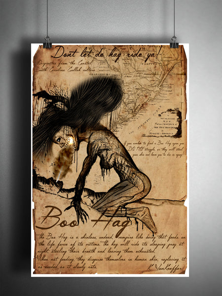 Boo hag, weird South Carolina art, creepy horror artwork, myths and monsters bestiary
