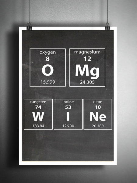 Wine art, periodic table art, wine gift, OMG WINE, wine art print, periodic table art, gift for her, gift for wine lover