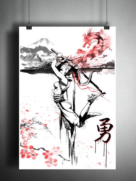 Samurai girl with cherry blossoms, Japanese Courage kanji, Japanese ink painting