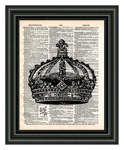 French Crown art print drawing on vintage dictionary page