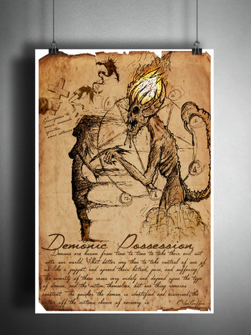 Demonic Possession, folklore, legends, creepy horror artwork, myths and monsters bestiary,