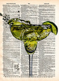 Margarita splash print, cocktail artwork, Tequila, mancave decor dictionary art print