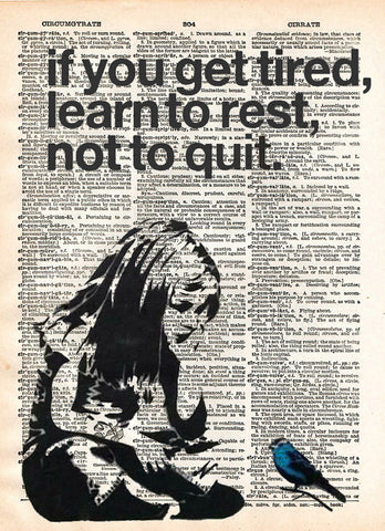 Banksy Girl if you get tired learn to rest,  street art, banksy print, vintage dictionary page book art print, cool art, bird art