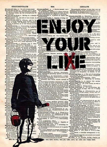 Banksy enjoy your Life, enjoy your lie, cool dictionary art, unique wall decor, banksy boy painting