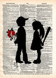 Girl with bat, boy with flower art print. Banksy inspired art print. boy meets girl art -  - 2