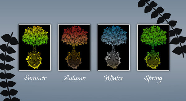 Celtic Tree of Life art, Celtic Tree art, four seasons artwork, boho wall art, set of all four seasons