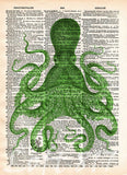 Octopus wall art, vintage octopus drawing, dictionary print, book page art -  - 6