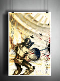 Hoplomachus gladiator art, roman coliseum artwork, ancient warrior, splatter art