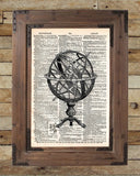 Armillary sphere, vintage globe, old map artwork -  - 2