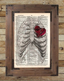 Steampunk clockwork heart, vintage anatomy ribcage, dictionary page book art print -  - 2