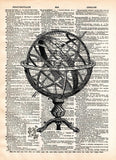 Armillary sphere, vintage globe, old map artwork -  - 1
