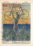 Beautiful girl, vintage bicycle art, dictionary page print -  - 1
