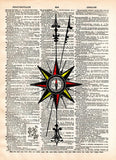 Compass rose, Nautical art print,  vintage dictionary page book art print -  - 1