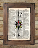 Compass rose, Nautical art print,  vintage dictionary page book art print -  - 2