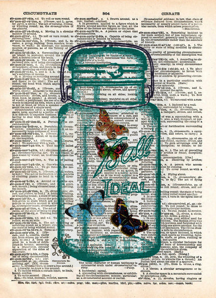 Butterflies dictionary art print, buterflies in mason jar, book page art -  - 1
