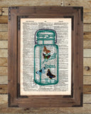 Butterflies dictionary art print, buterflies in mason jar, book page art -  - 2
