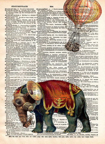Steampunk elephant, elephant art print, oddities art -  - 1