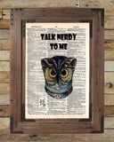 Talk Nerdy to Me, owl geeky nerdy print, dictionary page print -  - 2