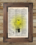 Classic Edison lightbulb, Steampunk light, vintage dictionary page,  book art print -  - 2