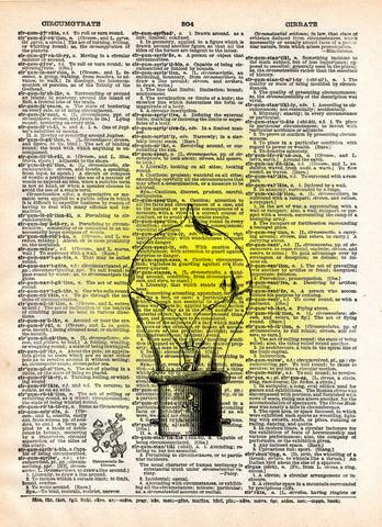 Classic Edison lightbulb, Steampunk light, vintage dictionary page,  book art print -  - 1