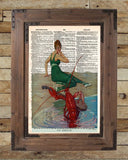 Vintage beach art, nautical art, lobster art print, old book page art -  - 2