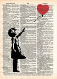 Banksy girl with balloon, red balloon girl print,  street art, vintage dictionary page book art print -  - 1