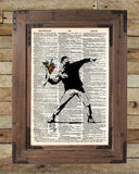 Banksy Flower Bomber,  street art,  vintage dictionary page book art print -  - 2