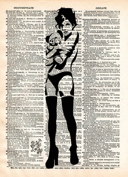 Banksy Sexy girl with teddy bear, street art vintage, dictionary page book art print -  - 1