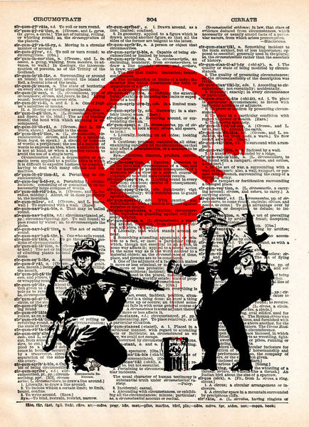 Banksy graffiti art, peace soldier, s vintage dictionary page book art print -  - 1
