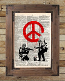 Banksy graffiti art, peace soldier, s vintage dictionary page book art print -  - 2