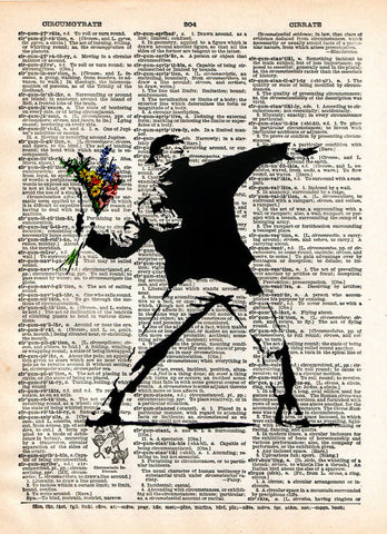 Banksy Flower Bomber,  street art,  vintage dictionary page book art print -  - 1