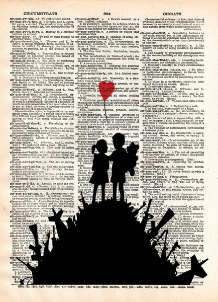 Banksy Children on guns art, revolution street art , vintage dictionary page book art -  - 1